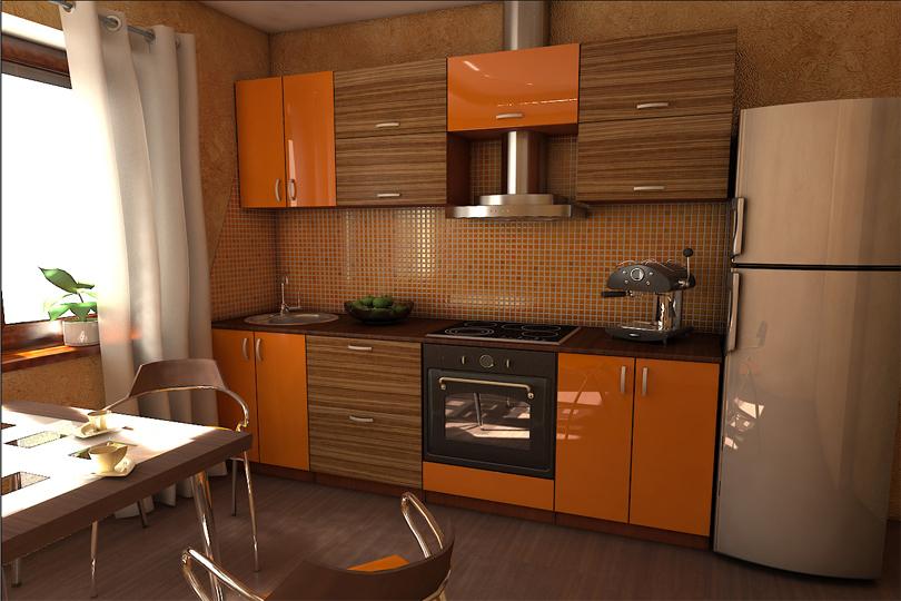 Кухня МДФ оранжевый глянец №57