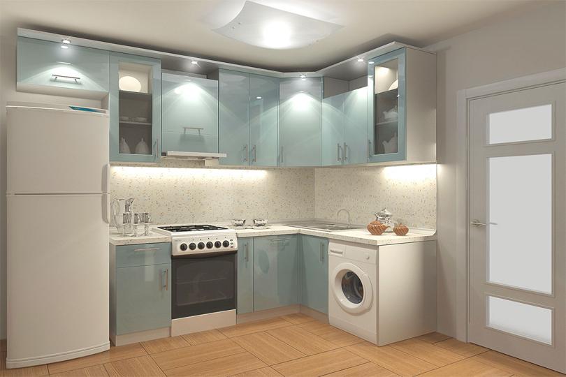 Светло голубая кухня из МДФ №52