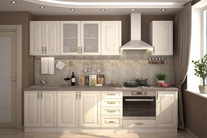 Белая кухня с фрезеровкой из МДФ №49