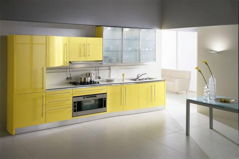 Желтая кухня из МДФ №44