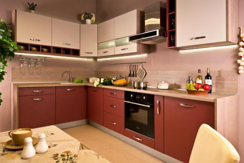Бордовая кухня из МДФ №39