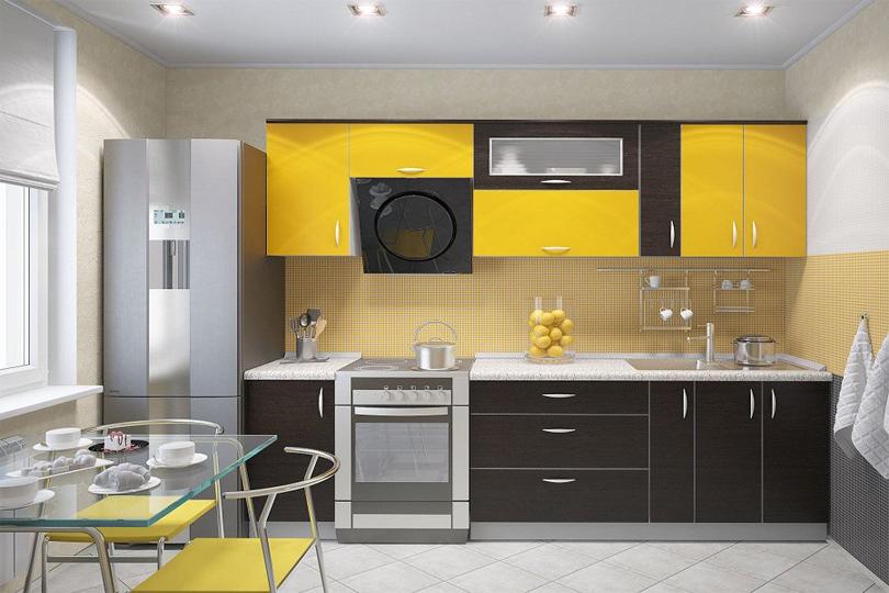 Черно желтая кухня из МДФ №30