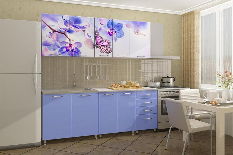 Кухня с фотопечатью бабочки