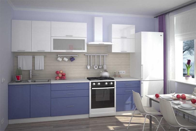 Бело синяя кухня из МДФ №63