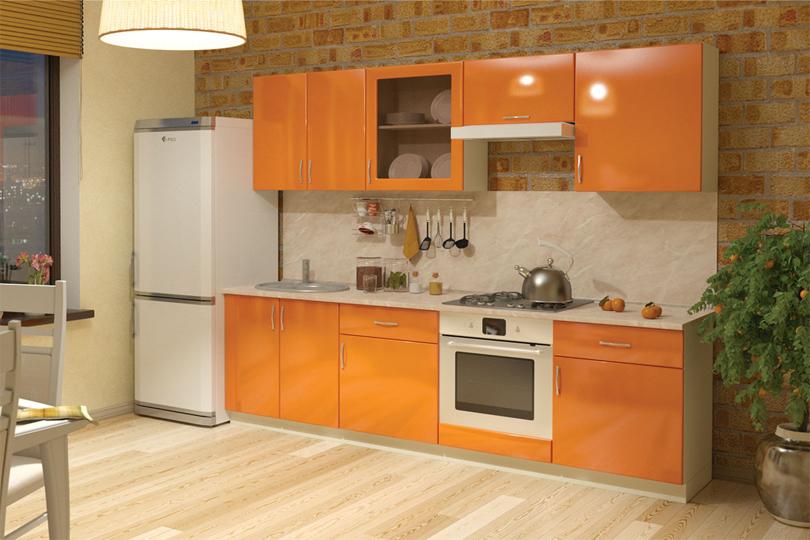 Кухня оранжевая глянец из МДФ №61