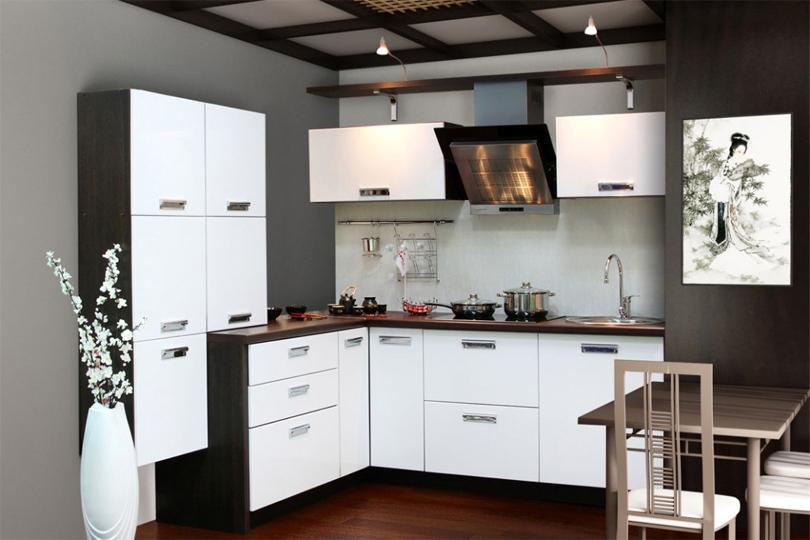 Кухня черно белая из МДФ