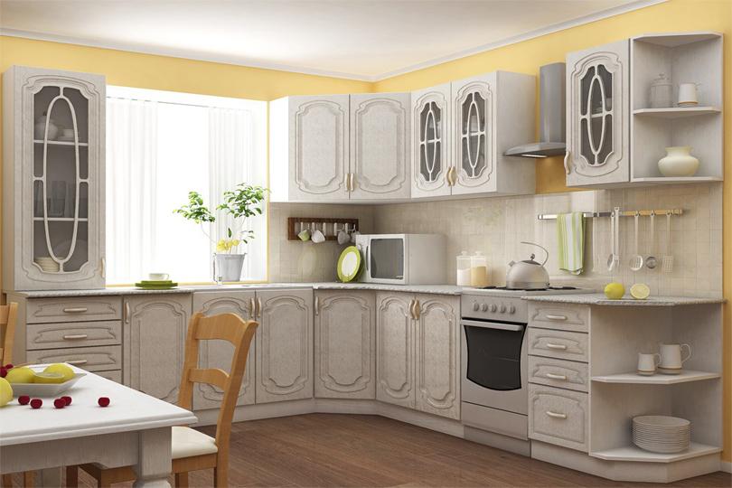 Кухня белая с фрезеровкой из МДФ №66