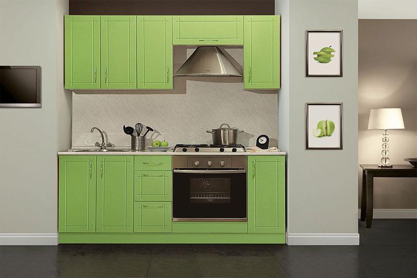 Зеленая кухня МДФ с фрезеровкой №36