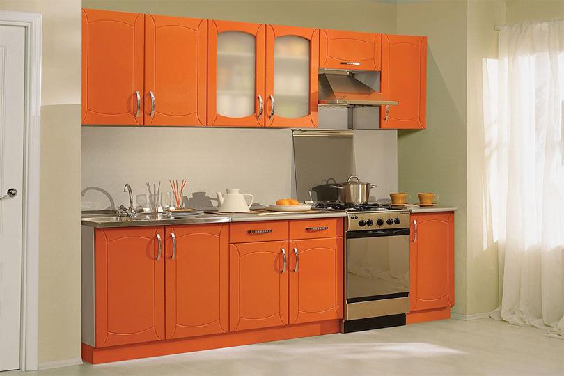 Кухня оранжевая c фрезеровкой из МДФ