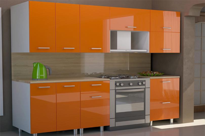 Кухня оранжевая из пластика