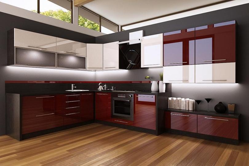 Бело бордовая кухня из пластика №27