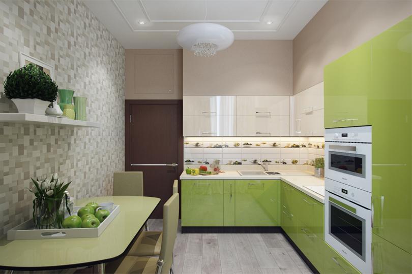 Кухня из оливкового пластика №26