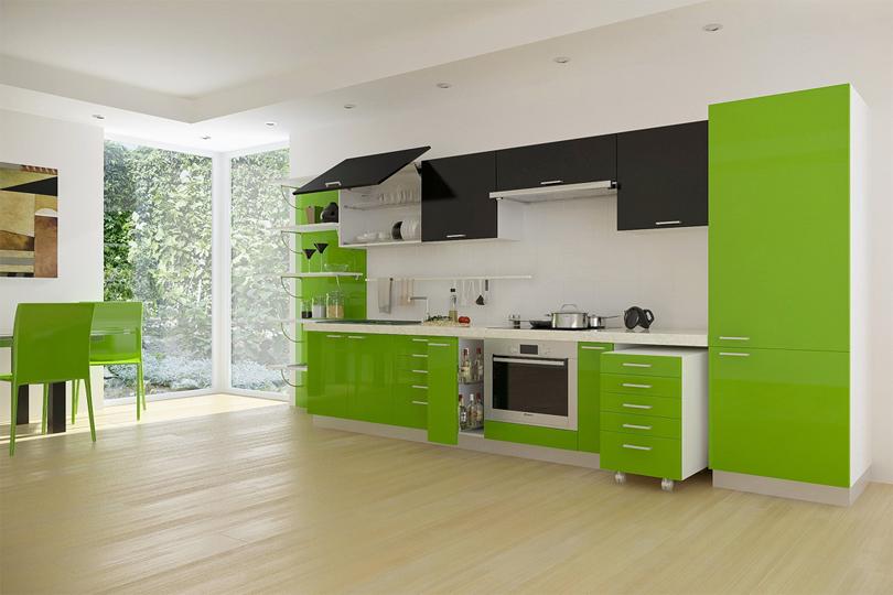 Кухня из зеленого пластика №24