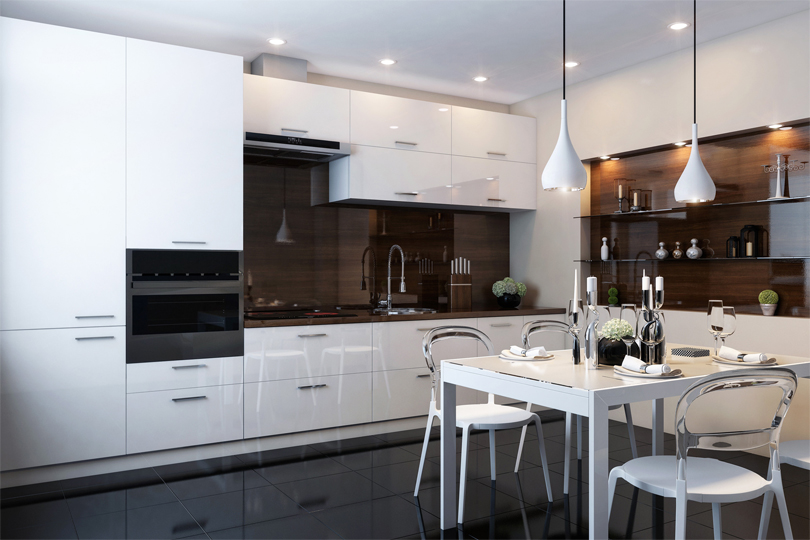 Кухня белая из пластика №1
