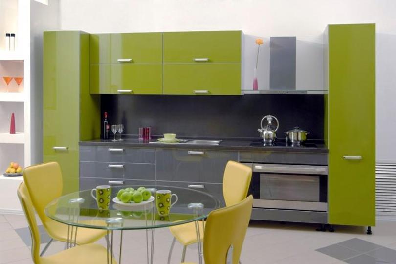 Оливковая кухня из пластика №17