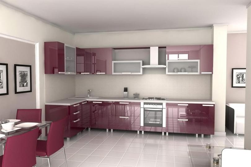 Бордовая кухня из пластика №16