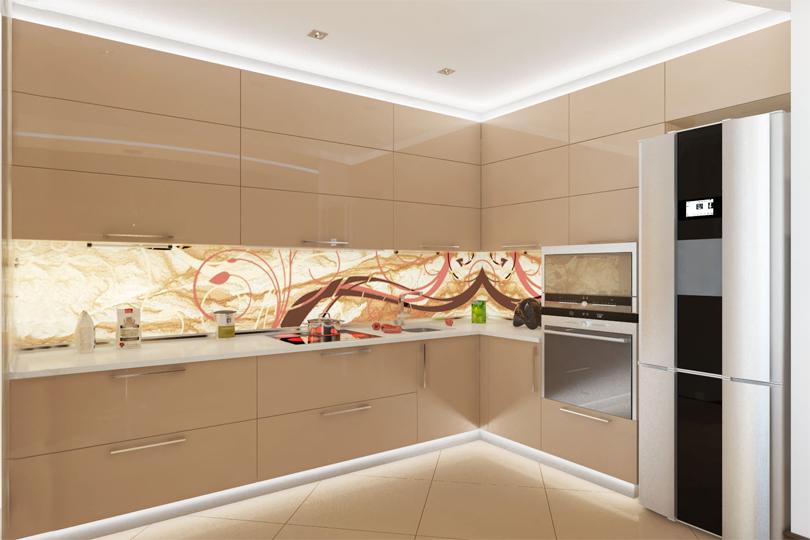 Кремовая кухня из пластика №14