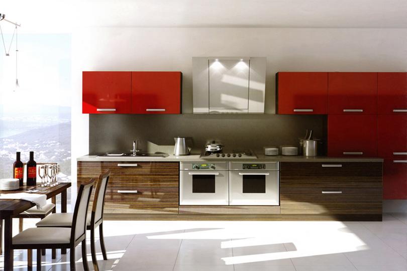 Красная кухня из пластика №9