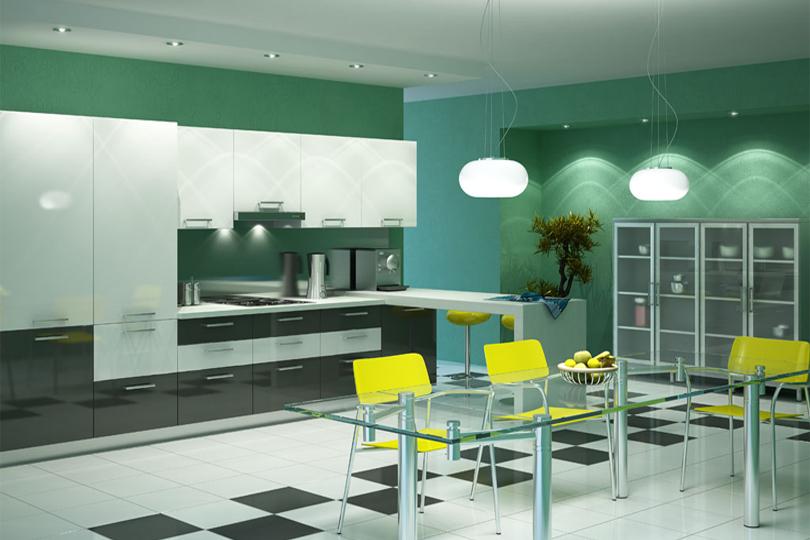 Черно белая кухня из пластика №4