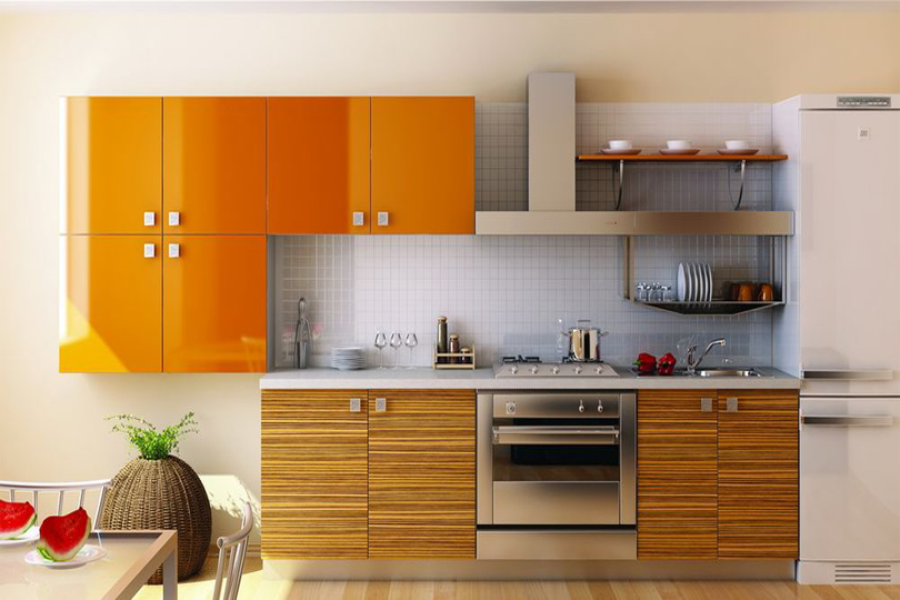 Оранжевая кухня из пластика №5