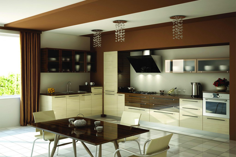 Ванильно коричневая кухня из пластика №41