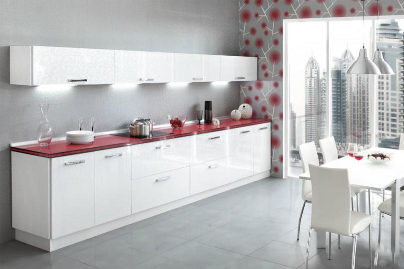 Кухня из белого пластика №3