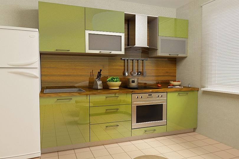 Кухня из пластика оливковая