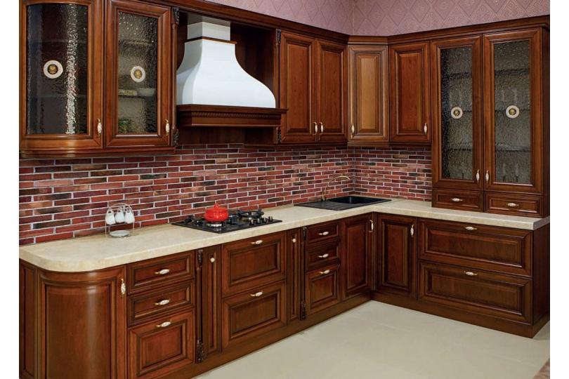 Кухня из массива черешни №14