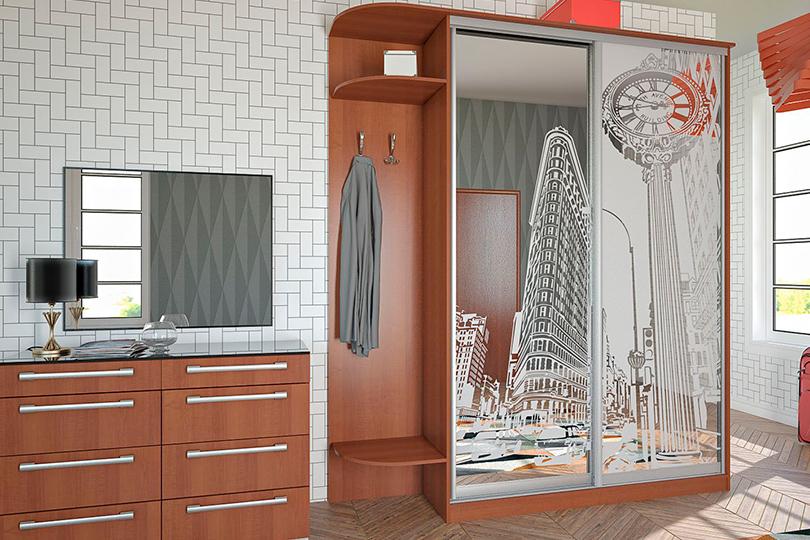 Шкаф купе с пескоструйным рисунком на зеркале №8
