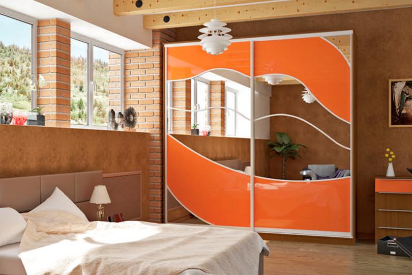 Оранжевый шкаф купе №28
